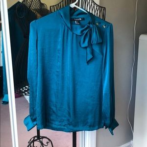 Long Sleeve Satin Top with Bow